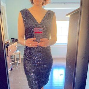 Lauren blue sequin cocktail dress